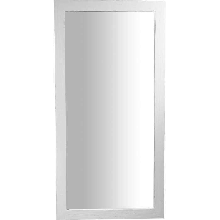 Miroir mural rectangulaire en bois massif de tilleul finition blanche patinée L100 x PR3 x H200 cm