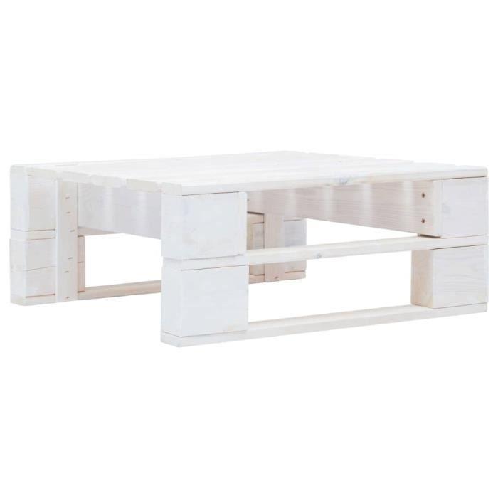 Table Basse Terrasse Salon -Pouf d'extérieur Magnifique- 60 x 60 x 25 cm Repose-pied palette de jardin - Bois Blanc Vintage7840