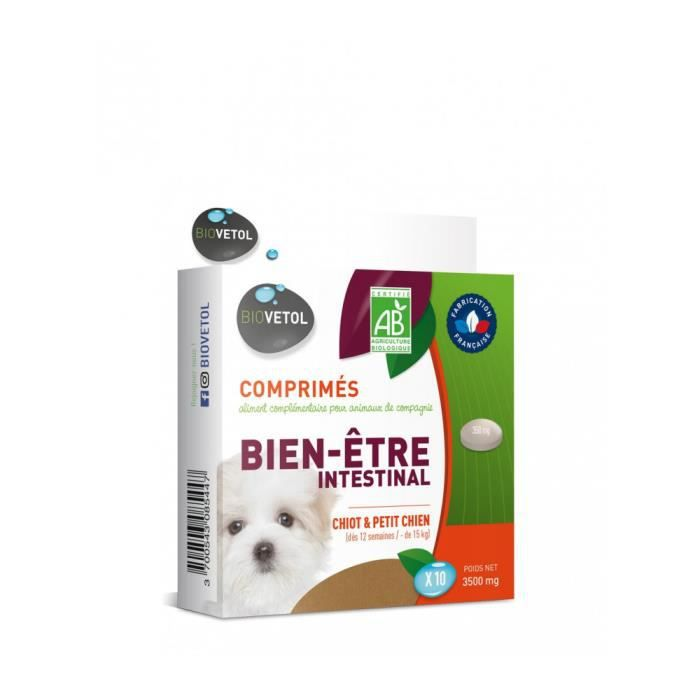 Aliment complémentaire pour chiot et petit chien à base de plantes. Il favorise le maintien de la flore intestinale et aide au