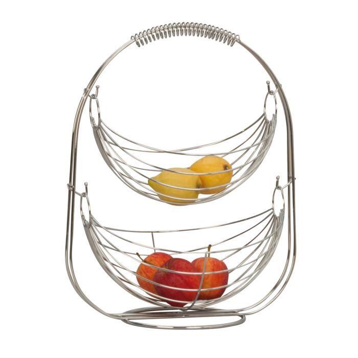 Corbeille à fruits Panier à fruits Étagère Bol à fruits en métal argent chromé Haut 45 cm
