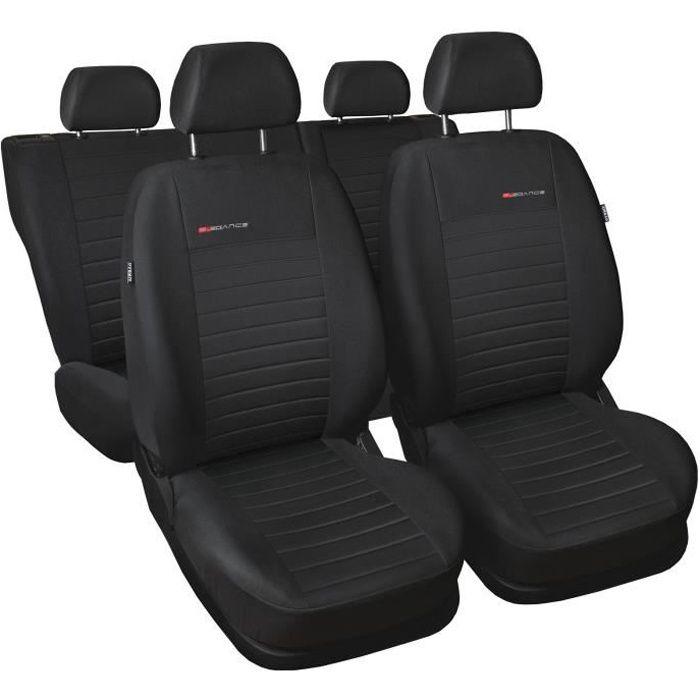 Housse De Siège pour Seat Ibiza I II III IV V Elégance P4 - Tissu noir et velours - Set complet