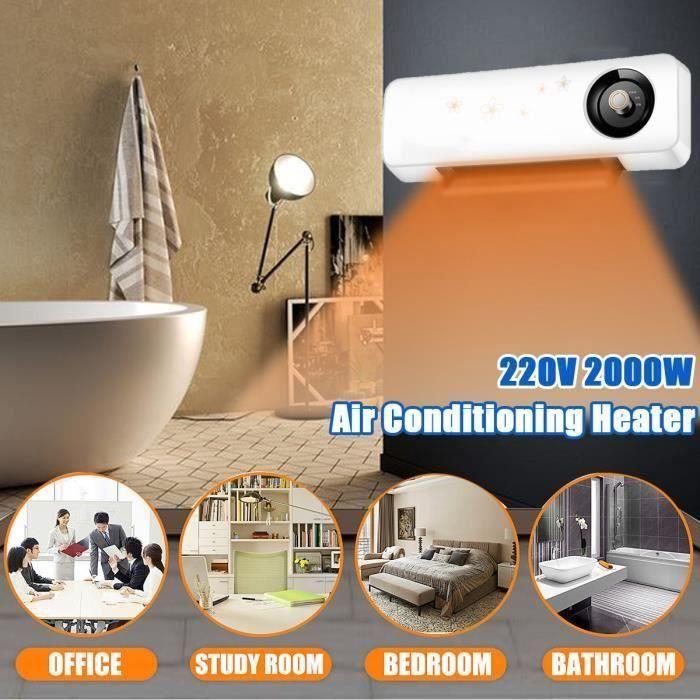 AVANC Radiateur Chauffage Electrique 2000W Télécommande Climatisation Etanche Mur Maison PRISE US 220V BLANC