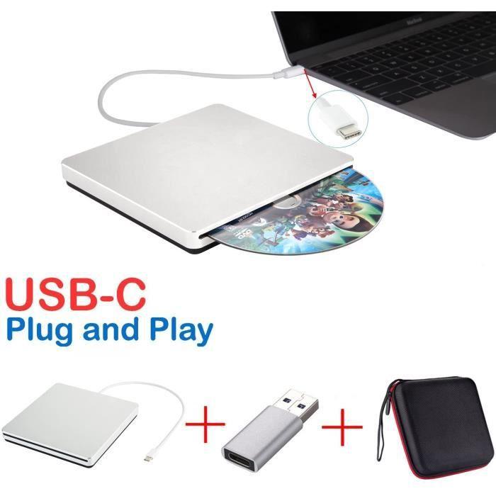 Lecteur Graveur DVD/CD Externe SuperDrive USB-C USB de Type C pour MacBook Air/iMac/Mac Pro/Ordinateur/Ordinateur Portable avec Mac