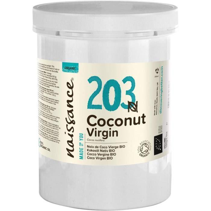 Naissance Huile de Noix de Coco Vierge BIO (n° 203) - 1kg - 100% pure, naturelle, pressée à froid, arôme gourmand – végan et sans OG