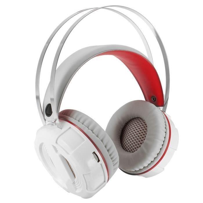 NEUFU Jeux casque écouteur audio filaire confortable Blanc Non lumineux