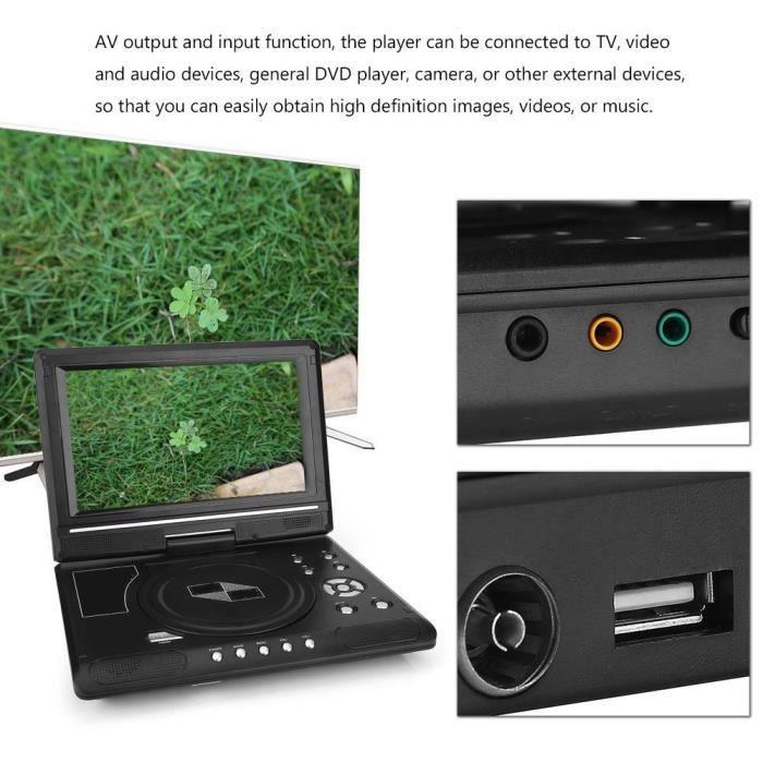 Fdit lecteur DVD USB Portable HD 9.8 `` écran LCD lecteur DVD jeu lecteur TV récepteur radio FM avec prise ue
