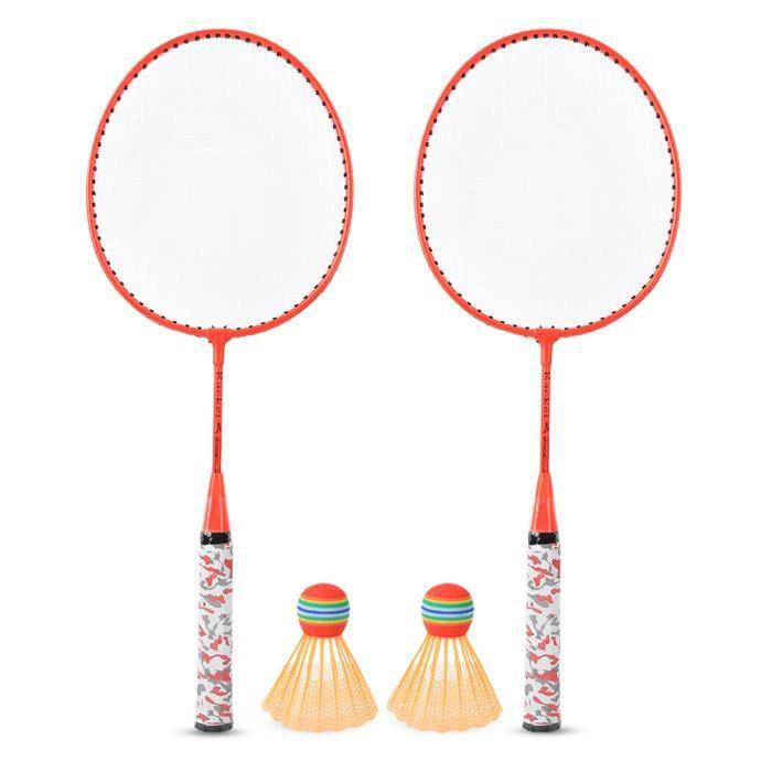 Drfeify Raquette de badminton pour garçons Kit de Raquette de Badminton avec 2 Balles Jeu de Sport Extérieur Jouet d'Enfant