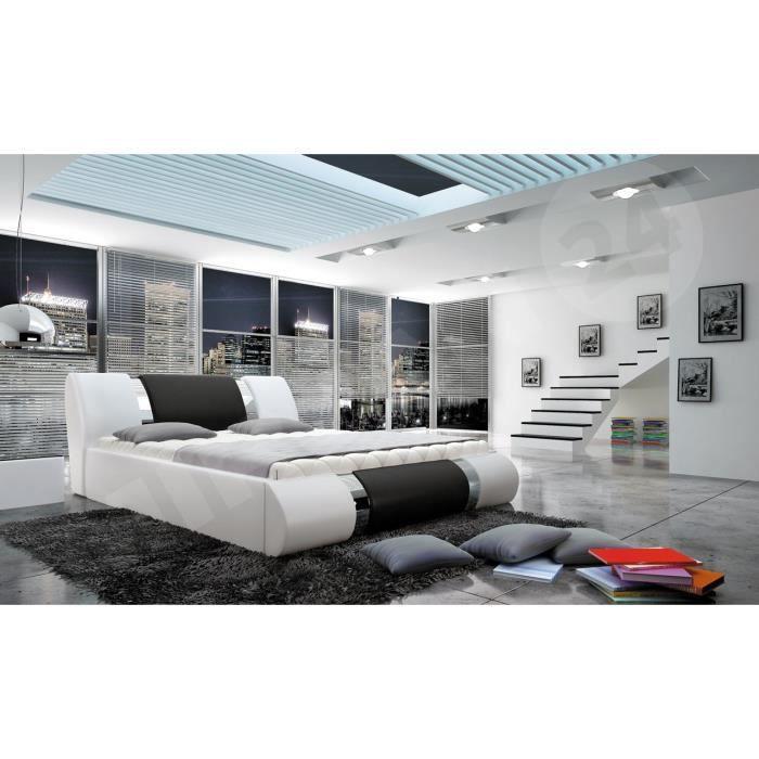 Structure de lit design Arlan blanc et noir 160x200