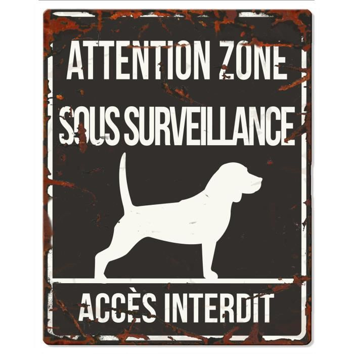 D&D Plaque Attention Chien Beagle - Noir