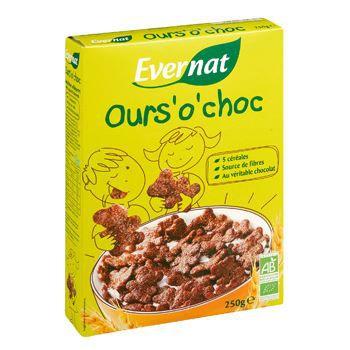 Evernat Cereales petit dejeuner Ours o choc 250g