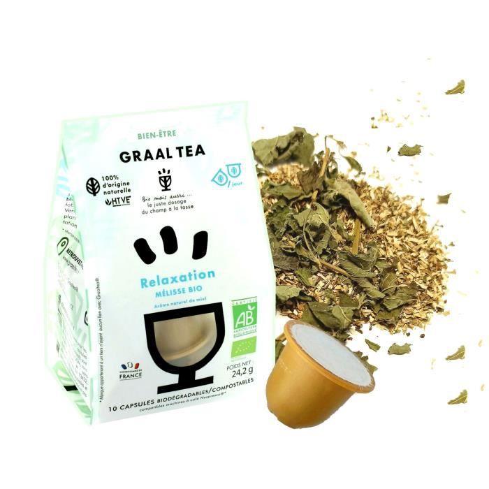 GRAALTEA - Infusion Bien-Être - Relaxation BIO en Capsule - 100% d'Origine Naturelle - Made in France - 1 Paquet x 10 Capsules - Com