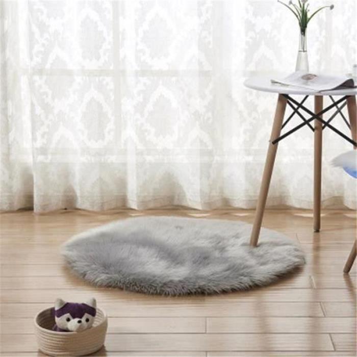 Tapis Salon carpet tapis chambre Rond Tapis Shaggy Gris-90cm