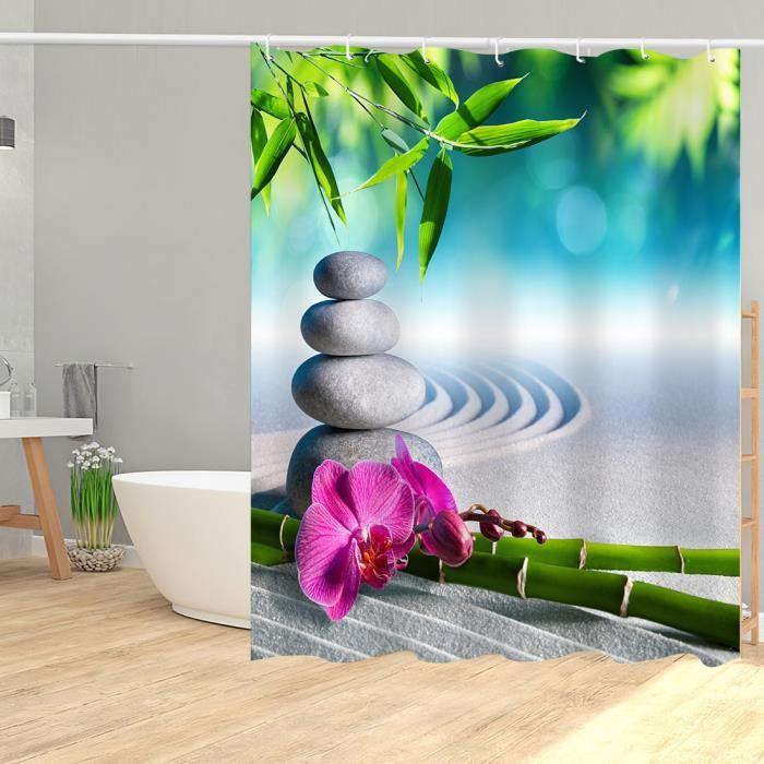 Rideau de douche ZEN galets bambous fleur et leurs reflets dans l'eau anneaux inclus 3D imperméable 180 x 200 cm