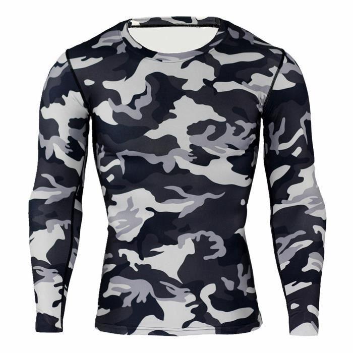 Combinaison de Compression Pour Homme Séchage Ultra Rapide Tee Shirt À Manche Longue De Running Fitness Gym Tops,GrisNoir