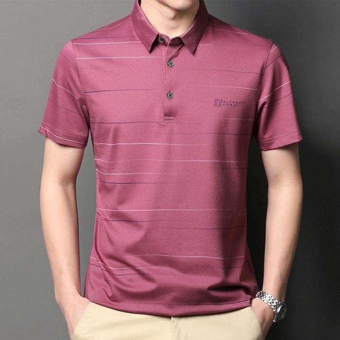 Mode chemise Polo Homme Manche Courte Casual Manche courte Lapel Basic T-Shirt Slim sports Tennis Poloshirt Tops Vin rouge