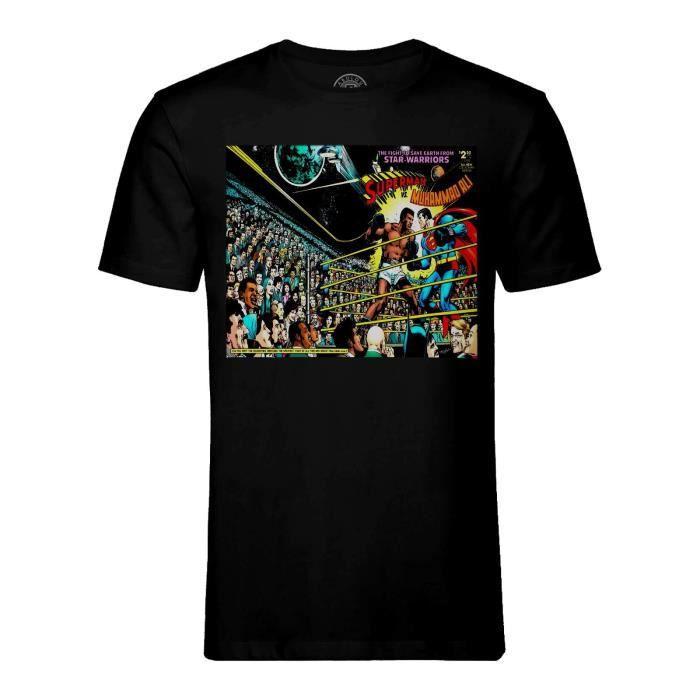 T-shirt Homme Col Rond Noir Superman Contre Mohamed Ali Comics Super Heros