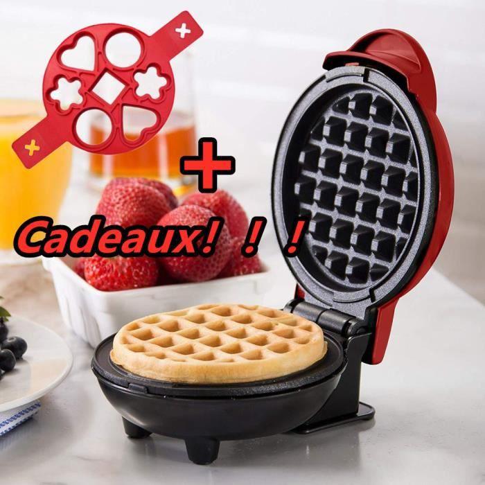 【Cadeaux!】Gaufrier électrique MINI Appareil à Gaufre 350W 50Hz Machine à cuisine + Moule à gaufre