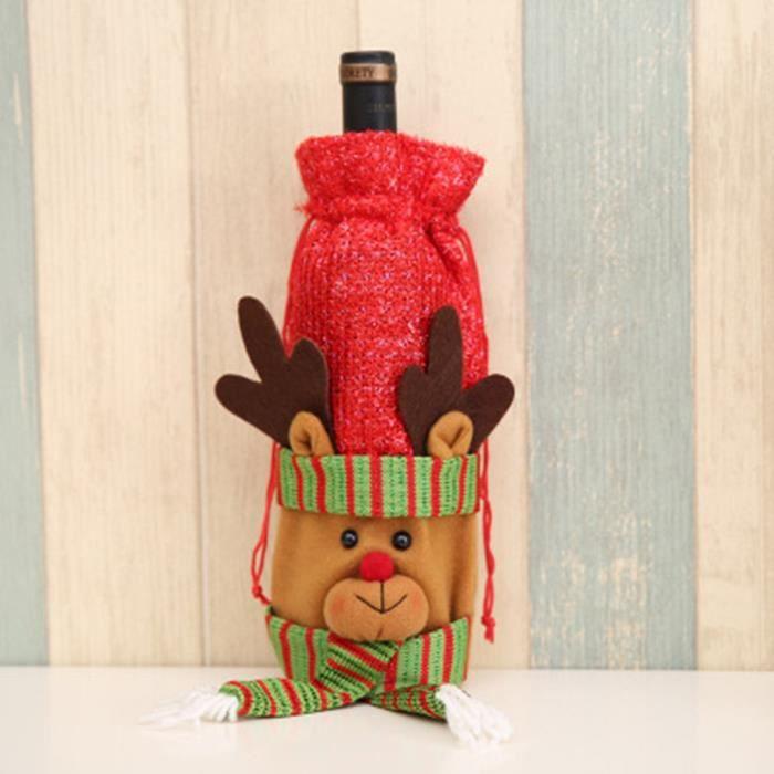 Santa Claus Decor Cover Couverture de bouteille de vin Sacs-cadeaux de vin rouge Ornements de maison rouge, cerf
