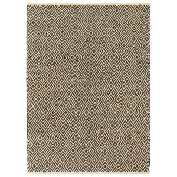 Tapis Chindi tissé à la main Cuir Coton Tapis de salon Moderne - Style berbère 190 x 280 cm Noir
