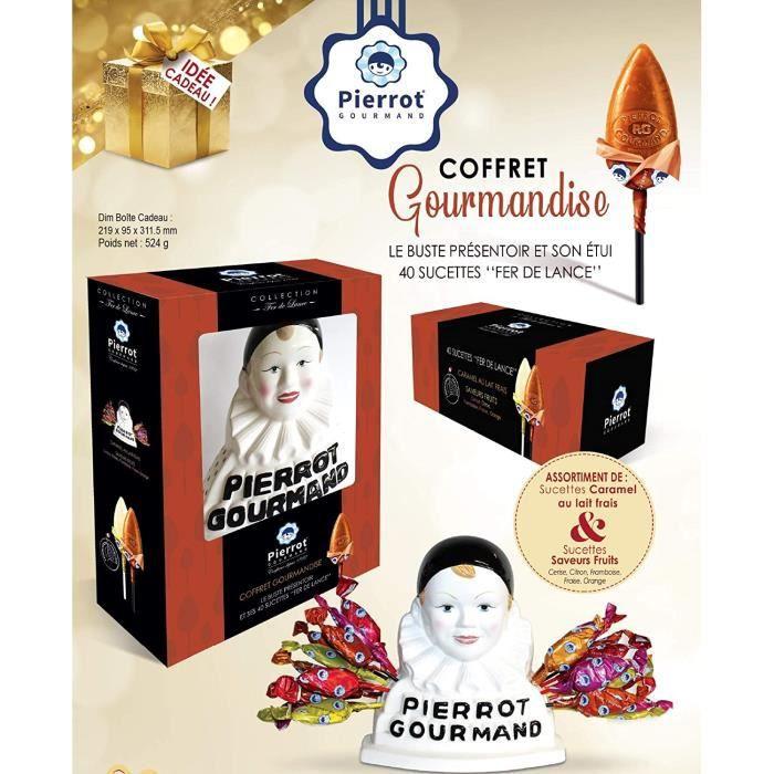CONFISERIE Coffret buste Pierrot gourmand et 40 sucettes assorties Fruits et Lait Rouge/Noir