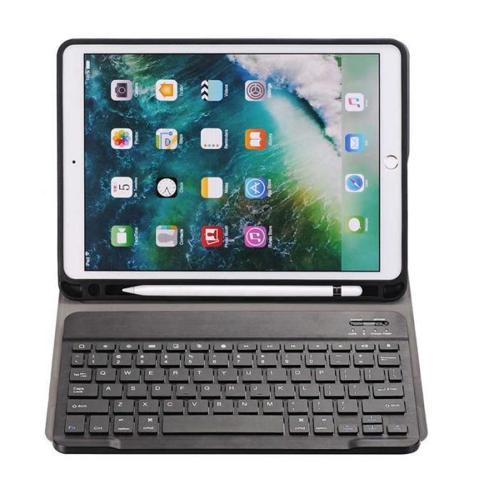 10.5 Etui avec Clavier Amovible Sans Fil, Étui Couverture De Support Ultra Mince avec Support De Crayon Pour Apple Ipad Pro 10.5