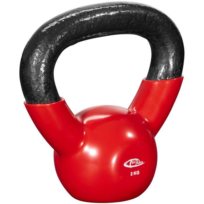 TECTAKE Kettlebell 2 kg pour Exercices de Musculation et de Cross Training en Fonte Rouge