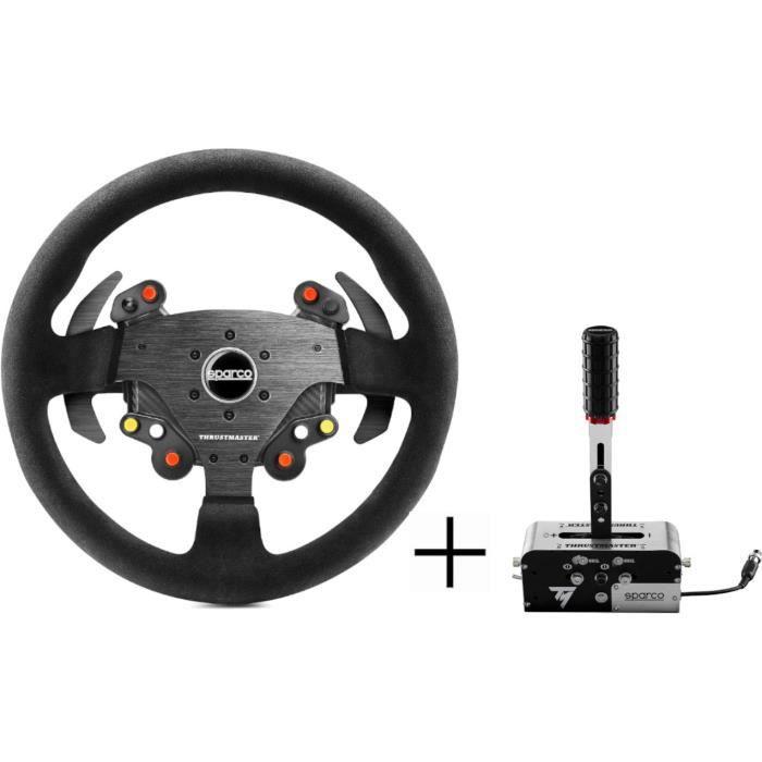 Thrusmaster Volant de simulation Sparco R383 Mod Add On + Frein à main / Boîte de vitesse Tss Handbrake