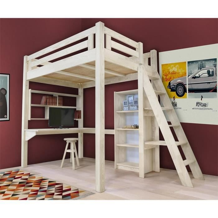 lit mezzanine alpage bois chelle hauteur r glable teint blanc 140x200 achat vente. Black Bedroom Furniture Sets. Home Design Ideas