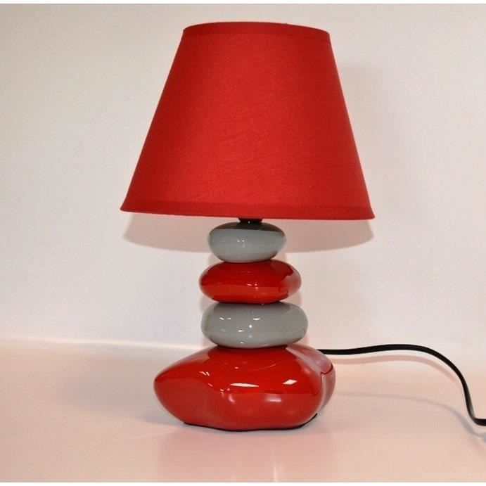 lampe de chevet galet rouge et gris 31cm achat vente. Black Bedroom Furniture Sets. Home Design Ideas