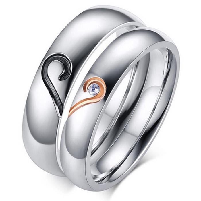 Love Ring Taille 3-13 Coeur Fiançailles CZ Band Hommes Femmes 925 Argent Mariage
