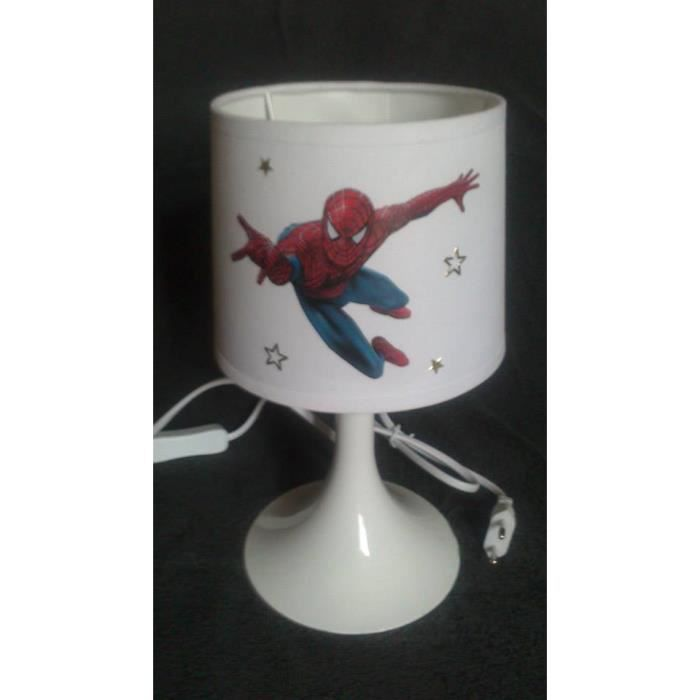 lampe de chevet spiderman blanche personnalisable achat. Black Bedroom Furniture Sets. Home Design Ideas