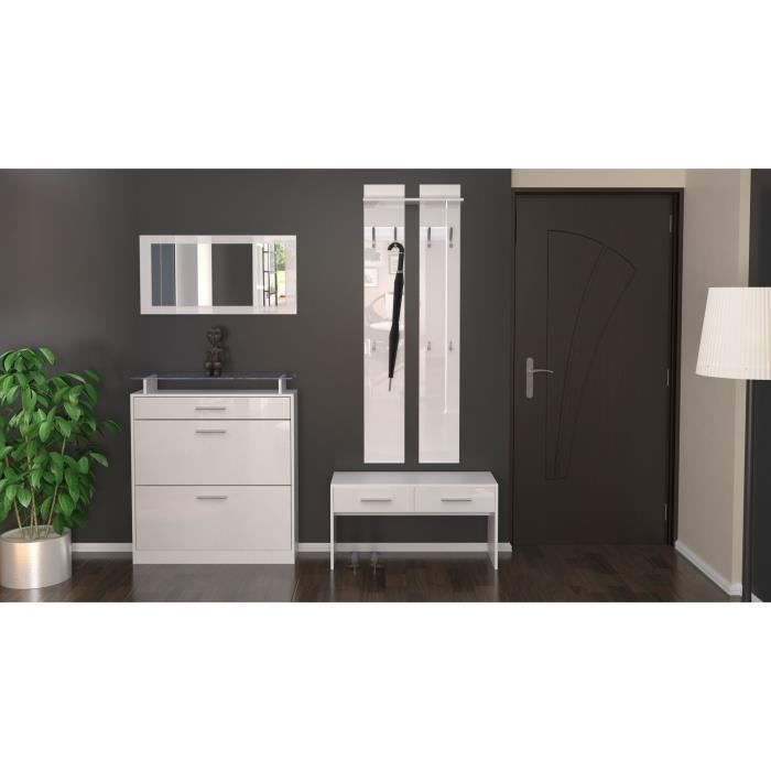 ensemble de meubles d entr e laqu blanc achat vente. Black Bedroom Furniture Sets. Home Design Ideas