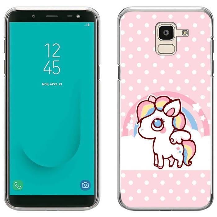 Coque pour Samsung Galaxy J6 licorne kawaii