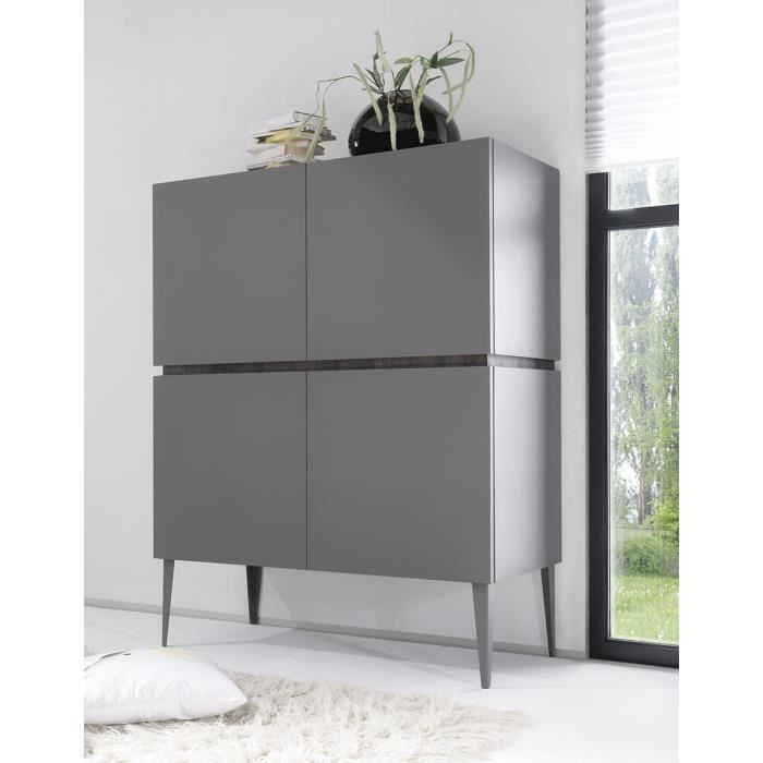 buffet haut gris ou blanc 4 portes legos 2 gris avec pieds achat vente buffet bahut buffet. Black Bedroom Furniture Sets. Home Design Ideas