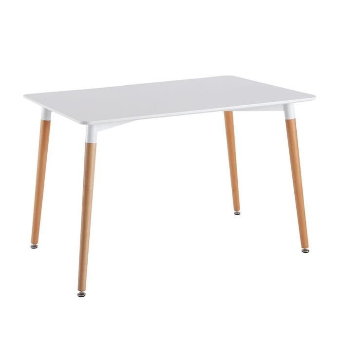 DELMARO HOME Table salle à manger Scandinave rectangulaire (L120cm ...