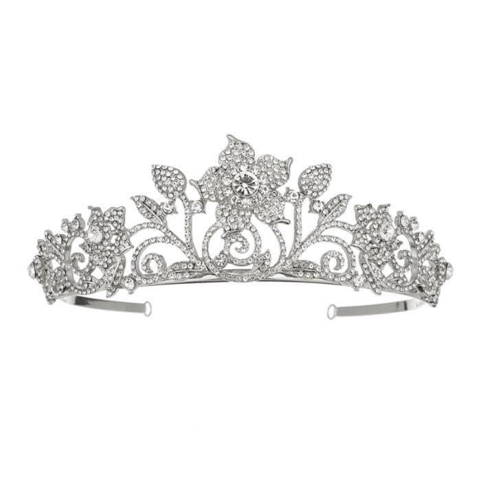 Couronne de Reine Cristal de Mariage diad/ème Princesse Couronne de Cheveux pour Les Femmes Vintage Baroque Perle diad/èmes Strass Bijoux de Cheveux de mari/ée pour Mariage Bal