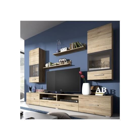 meuble tv design mural arann bois clair composition bois laqu achat vente meuble tv. Black Bedroom Furniture Sets. Home Design Ideas