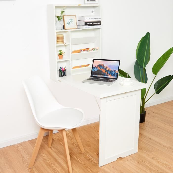 Costway Bureau Rabattable Mural 60 X 16 X 82cm Blanc Table Murale