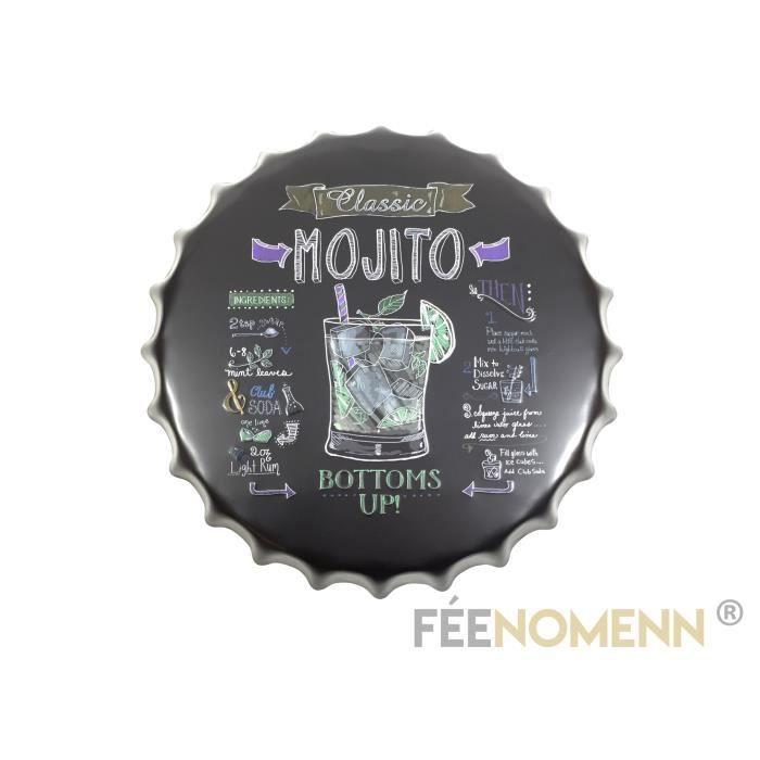 Diam. 40cm Recette Martini Fa/çon Ardoise FEENOMENN Capsule M/étal Vintage