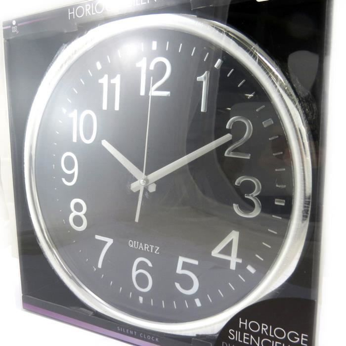 horloge silencieuse design noir 35cm achat vente horloge r sine cdiscount. Black Bedroom Furniture Sets. Home Design Ideas