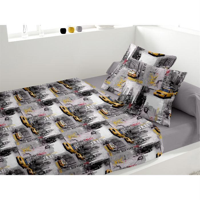 parure de lit new york time achat vente parure de lit cdiscount. Black Bedroom Furniture Sets. Home Design Ideas