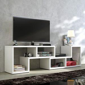 MEUBLE TV MURAL 3 en 1 Meuble TV / Table basse / Bibliothèque blan