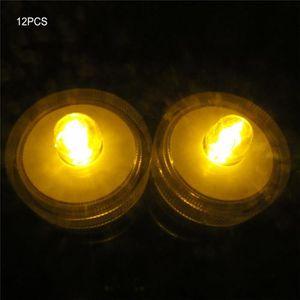 AMPOULE - LED 12Pcs Bougies LED étanche submersible lampe - jaun