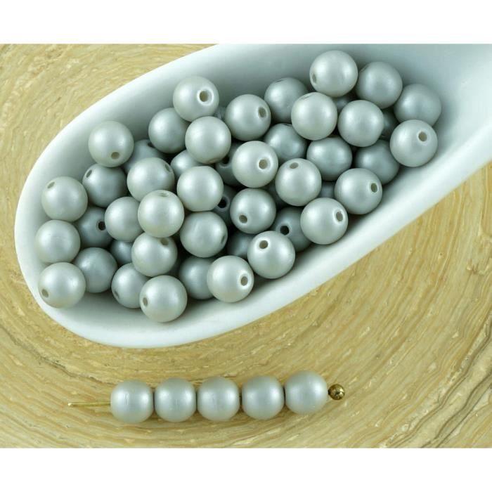 100pcs Nacré Gris Argent Cotton Candy Round Druk Entretoise de Semences de Verre tchèque Perles de 4mm