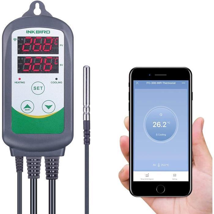 Regulateur de Temperature Prise Thermostat Chauffage Refroidissement Thermostat Numérique Inkbird ITC-308-WiFi 220V pour Serre