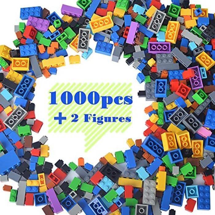 Jeu D'Assemblage FQPA1 briques de construction compatibles avec lego - blocs de construction en vrac de 1000 pièces de couleur aléat