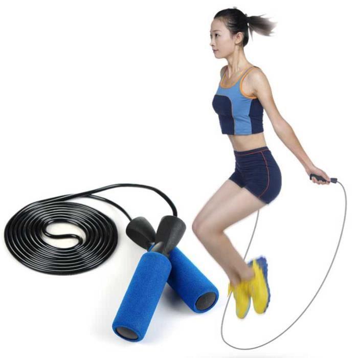 Corde à sauter, équipement de fitness, gymnastique, corde à sauter à la main-Bleu