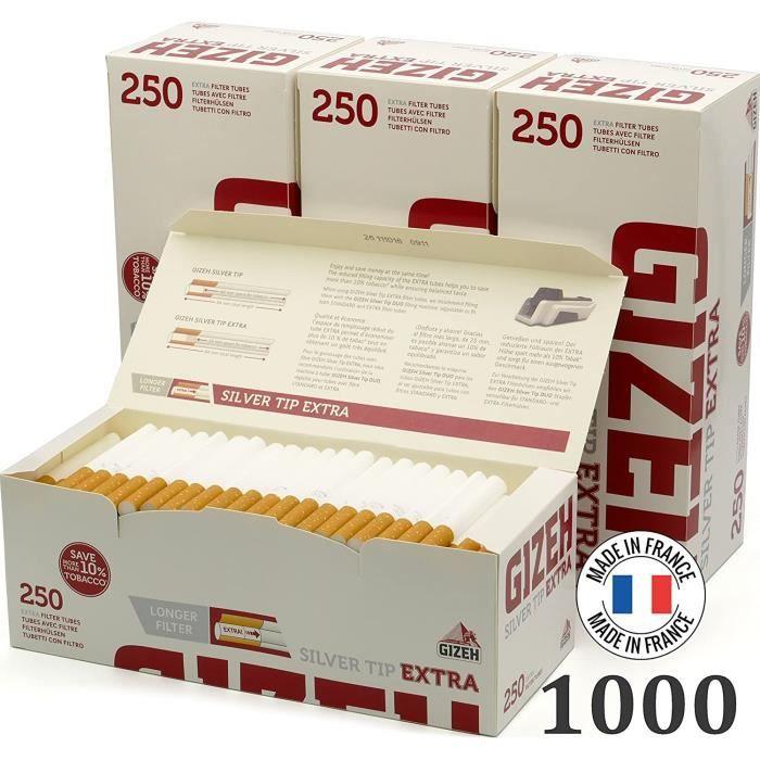 1000 Tubes Silver Tip Extra Gizeh Lot de 4 Paquets de 250 filtres Extra Longs, argenté 1000 Tubes Silver Tip Extra