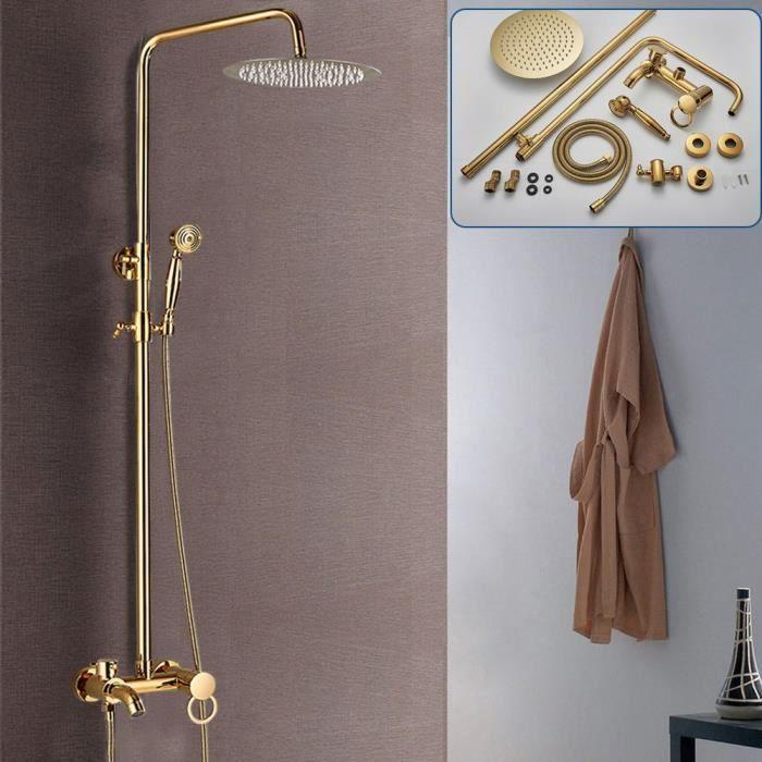 Mitigeur de douche Colonne de douche Douchette à main Douche à effet pluie - Or