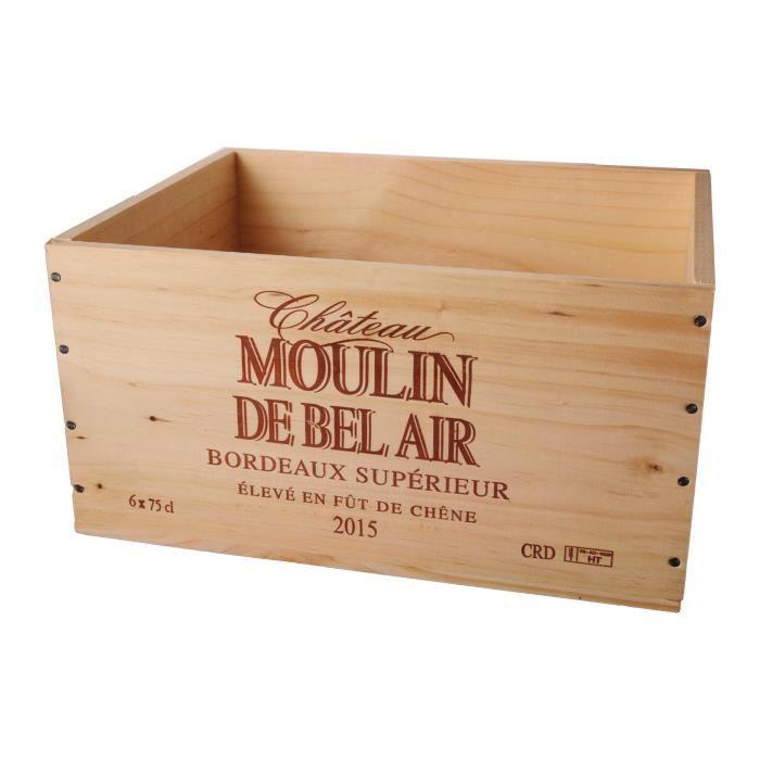 La Caisse Bois 6x75cl estampillé Château Moulin de Bel Air - coffret